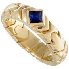 Bvlgari 18 Karat Yellow Gold Sapphire Solitaire Band Ring
