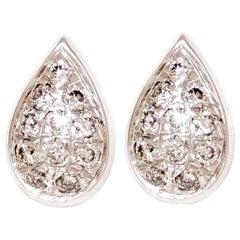 M. Khatau 18K White Gold and White Diamond Raindrop Stud Earrings