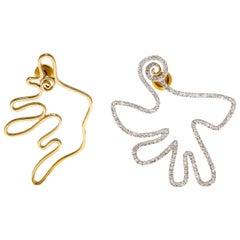 M. Khatau 18K Yellow Gold and Diamond mismatched Jack and Jill earrings