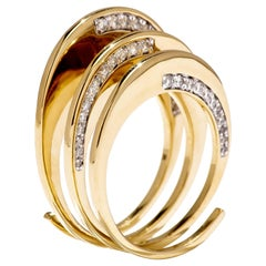 M. Khatau 18K Yellow Gold and White Diamond Spiral Plato's Cave Ring