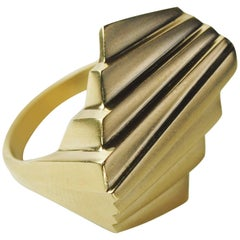 Emer Roberts 18 Karat Gold Art Deco Statement Ring