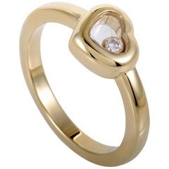 Chopard Happy Spirit 18 Karat Yellow Gold Floating Diamond Small Heart Ring