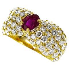 Queen Jewelry Diamond No Heat Ruby 0.93 Carat Ring 18 Karat Yellow Gold