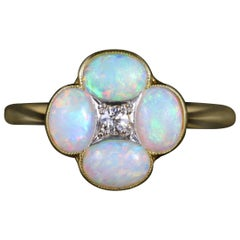 Antique Victorian Opal Diamond Ring 18 Carat Platinum, circa 1880