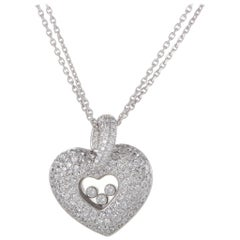 Chopard Happy Diamonds 18K White Gold Full Diamond Pave Heart Pendant Necklace