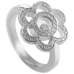 Chopard Happy Diamonds 18 Karat White Gold Diamond Pave Flower Ring