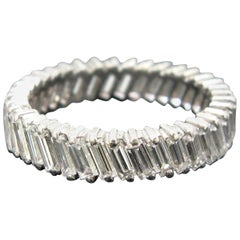 Contemporary French Platinum Diamond Tappers Baguette Eternity Band Ring