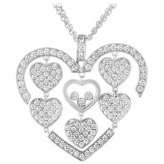 Chopard Happy Amore 18K White Gold Full Diamond Pave Multiple Hearts Pendant Nec