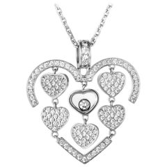 Chopard Happy Amore Petite 18K White Gold Full Diamond Pave Multiple Hearts Pend