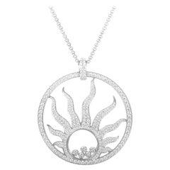 Chopard Happy Diamonds Sun 18 Karat White Gold Diamond Pave Sun Pendant Necklace