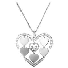 Happy Amore 18 Karat Gold Diamond Pave Floating Diamonds Hearts Pendant Necklace