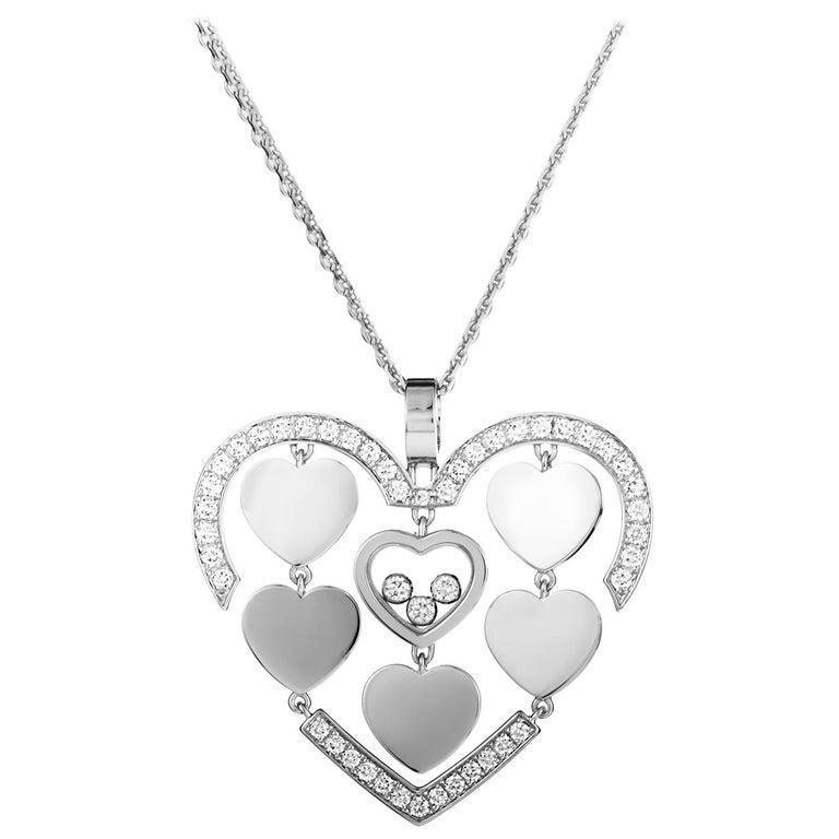 Happy amore 18 karat gold diamond pave floating diamonds hearts happy amore 18 karat gold diamond pave floating diamonds hearts pendant necklace for sale aloadofball Images
