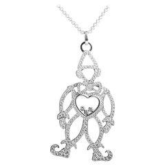 Chopard Happy Diamonds 18 Karat White Gold Full Diamond Clown Pendant Necklace