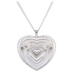 Happy Diamonds 18 Karat Gold Floating Diamonds Large Heart Pendant Necklace