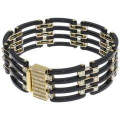 1920s Art Deco Diamonds Onyx 18 Carat Gold Link Bracelet