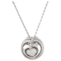 Women's 18 Karat White Gold Diamond Heart Ball Pendant Necklace