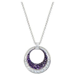Chopard 18 Karat Gold Diamond and Amethyst Pave Large Ring Pendant Necklace