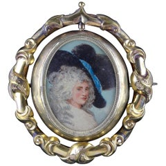 Antique Victorian Swivel Portrait Brooch, circa 1860