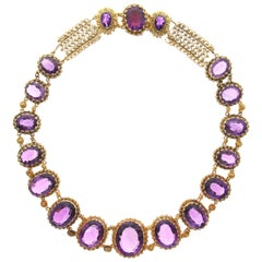 Antique Gold and Amethyst Cannetille Necklace, Early 19th Century