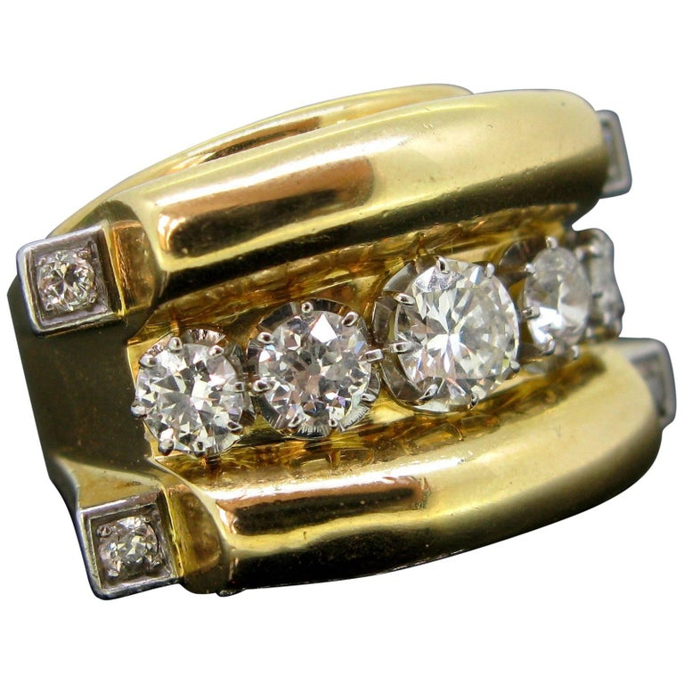 Retro French Tank Diamonds Yellow Gold and Platinum Ring