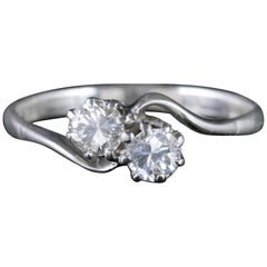 Antique Edwardian Diamond Twist Ring Platinum 18 Carat Gold, circa 1915