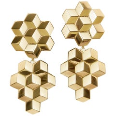 18 Karat Yellow Gold Signature Brillante Earrings, Grande