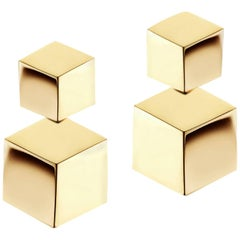 18 Karat Yellow Gold Drop Earrings, Petite
