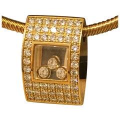 Chopard Happy Diamonds Yellow Gold Full Diamond Pendant / Necklace 79/3180 New