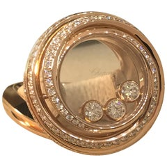 Chopard Happy Emotions Rose Gold Full Diamond Ring 82/9217 New