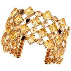18 Karat Rose Gold Citrine 72.95 Carat Very PC Cuff