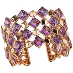 18 Karat Rose Gold Amethyst 84.56 Carat Very PC Cuff