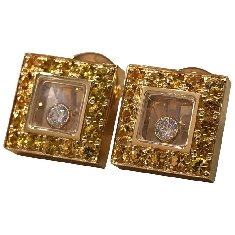 Chopard Happy Diamonds Square Yellow Gold Sapphire and Diamond Earrings