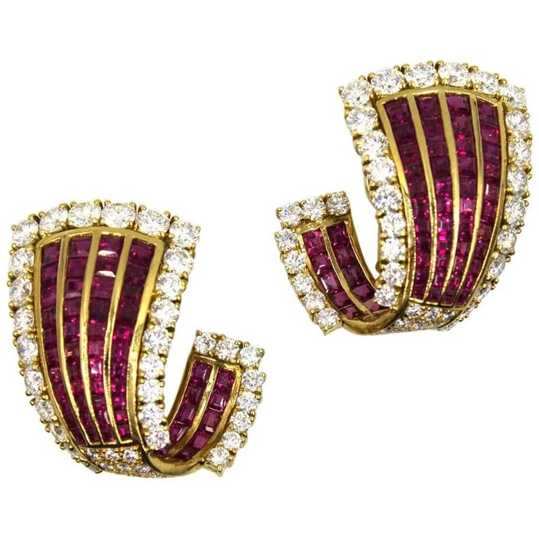 1950s Ruby Diamond 18 Karat Yellow Gold Fluted Earrings