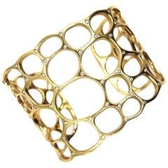 Gavello Diamond Studded 18 Karat Yellow Gold Open Wide Cuff Bracelet