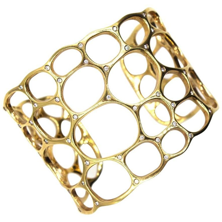 Gavello Diamond Studded 18 Karat Yellow Gold Open Wide Cuff Bracelet