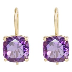 Amethyst 18 Carat Yellow Gold Hoop Earrings