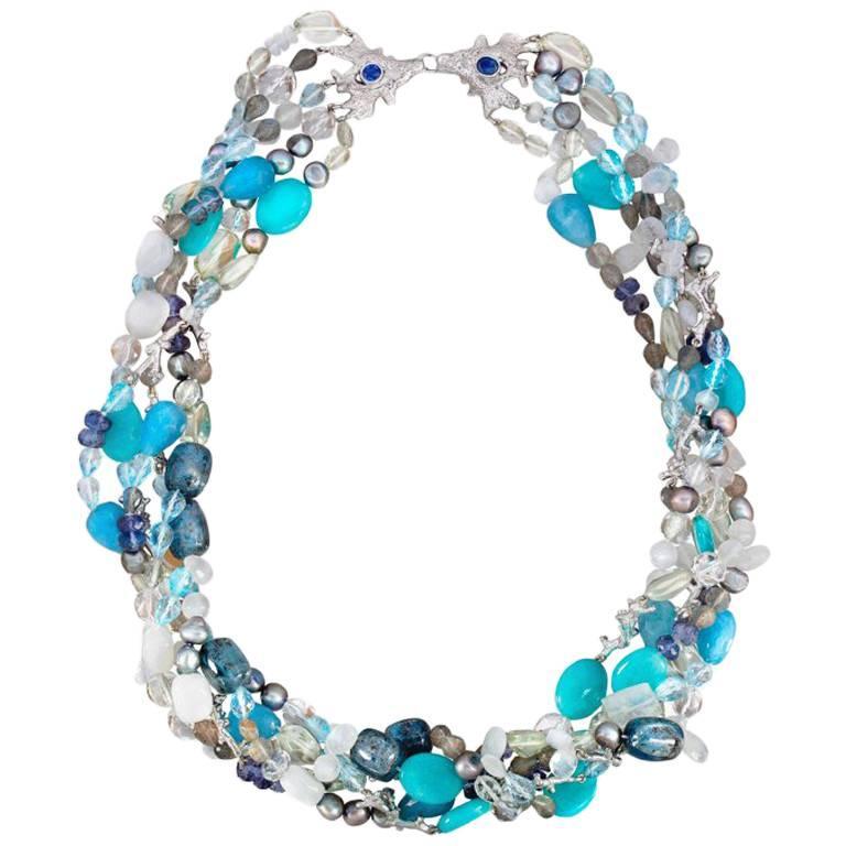 Aquamarine Pearl Beryl Topaz Diamond 18 Carat White Gold Multi-Strand Necklace