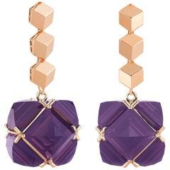 18 Karat Rose Gold Brillante and Amethyst 30.00 Carat Very PC Earrings, Grande