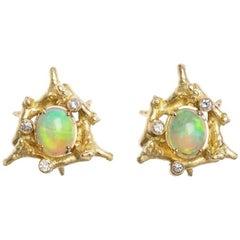 Diamond Opal 18 Carat Yellow Gold Clip-On Earrings