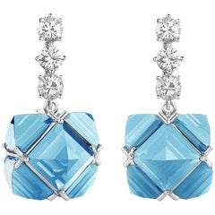 18 Karat White Gold White Sapphire and Blue Topaz Very PC Earrings, Grande