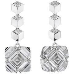 18 Karat White Gold Diamond Brillante and White Topaz Very PC Earrings, Grande