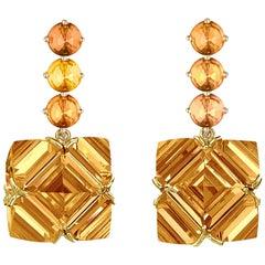 18 Karat Yellow Gold Orange Sapphire and Citrine 27.00 Carat Earrings, Grande