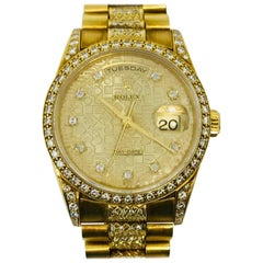 Rolex Ladies Yellow Gold Diamond Day Date Wristwatch
