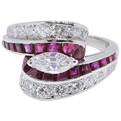 Oscar Heyman 3.22 Carat Diamond and Ruby Platinum Ring, circa 1950
