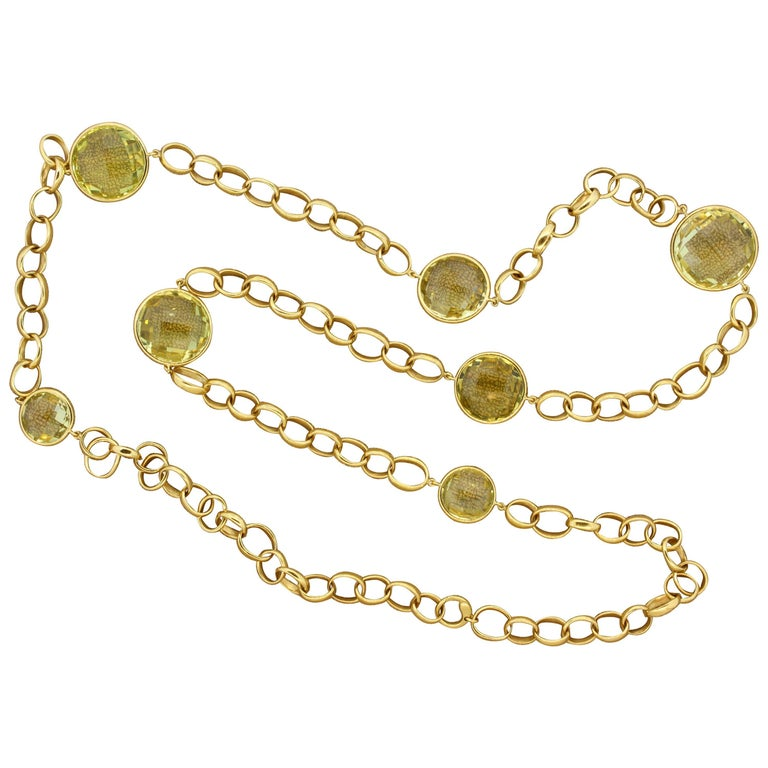 Italian Lemon Topaz Gold Hoop Link Necklace