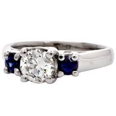 Three-Stone Sapphire Diamond Platinum Engagement Ring