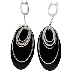 Modern Italian Onyx Diamond Gold Multi Hoop Drop Earrings