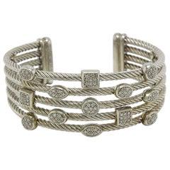 David Yurman Confetti Diamond Five-Row Wide Cuff Bracelet in Sterling Silver