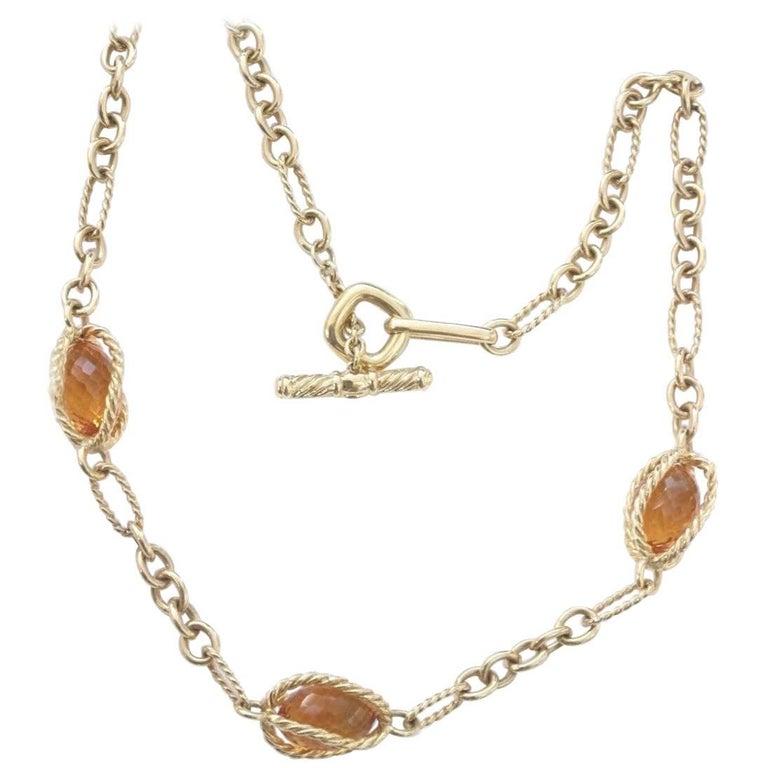 David Yurman Citrine Briolettes Toggle Necklace in 18 Karat Yellow Gold