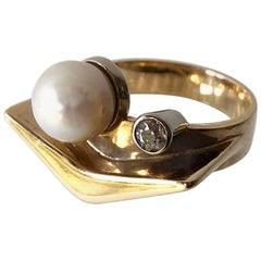 1950s Everett Macdonald Diamond Gold Pearl Boomerang Engagement Ring